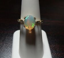 Size 6 Genuine Ethiopian Opal & Alexandrite 10K Yellow Gold Ring 1.57ct