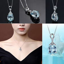 Vintage Gemstone Natural Aquamarine Pendant Necklace Silver Chain Jewelry Gift