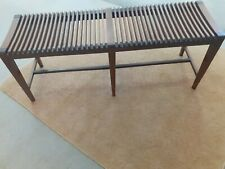 More details for antique/vintage/retro long double wooden slatted piano seat pos (sam maloof )