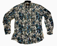 Mens PREMIERE Long Sleeve Button Down Dress Shirt X LARGE WHITE BLUE PAISLEY NWT