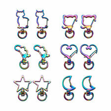 12pcs/set Rainbow Swivel Claw Clasps Keychain Clip Hanging Buckle Key Ring