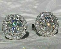 4Ct Round Attractive Cut VVS1/D Diamond Halo Stud Earrings 14K White Gold Finish