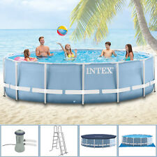 INTEX 457x122 Schwimmbecken Swimming Pool Schwimmbad Stahlwand Komplettset 28326