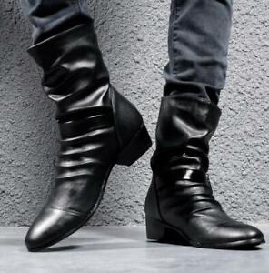 Herren Schnalle Spitz Ankle Boots Formell Trend Büro Rutschfest Chukka Schuhe