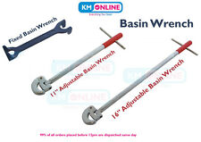 """Plumber Fixed Basin Wrench / 11""""-16"""" Adjustable Tap Nut Spanner Sink Bat"""