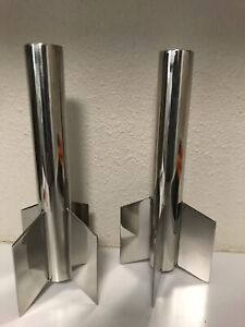 Set of 2 - Z Gallerie Silver Metal Taper Candle Holders Home Decor Contemporary