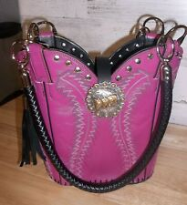 Pink Leather Cowboy Boot Purse