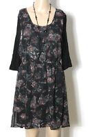 clockhouse Kleid Gr. L/38 schwarz knielang 3/4-Arm Chiffon Kleid mit Rosen