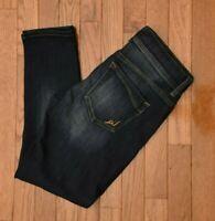 Express Women's Crop Jeans Skinny Fit Dark Wash Stretch 2 Button Waist Size 4R