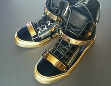 Brand NEW Giuseppe Zanotti Coby carry over style Black Navy Gold Sneakers 8.5