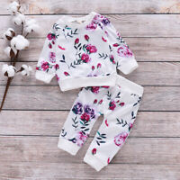 ❤️ Newborn Baby Girls Clothes Boho Floral Tops Long Pants Outfits Set Tracksuit
