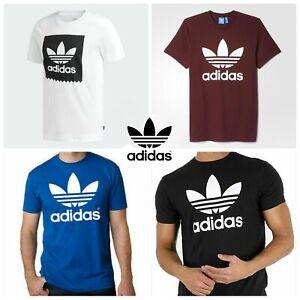 Adidas Men's Trefoil Big Logo T-Shirt  Top Cotton 4 Colour Size (S-XL)