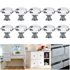 12PCS Crystal Cabinet Dresser Diamond Shape Drawer Door Knobs Pull Handles CA