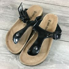 Miss Fiori Toe Shoes Ladies Sandals PU UK 5 EU 38 Leather Socks Black T272-17
