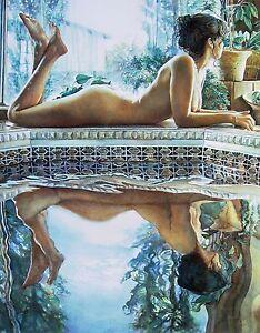 "Steve Hanks, ""Reflecting"", digital print, 16""h x 12'w image"