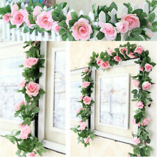 7 Ft Artificial Flower Silk Rose Ivy Vine Garland Leaf UK Decor Garden Wedding E
