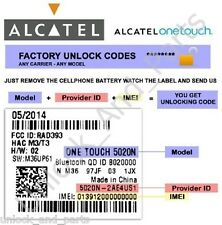 Unlock Code Alcatel 4009A 5015A 6012A 7055A Movistar Mexico And Worldwide
