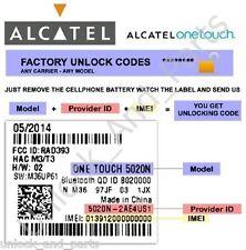Unlock Code Alcatel 5015A 5015D 5015E 5015X 4027A 4027N 4027X 4028E...