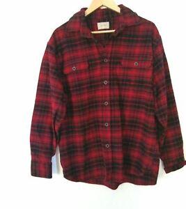 JACHS Men's Thick Heavy Flannel Shirt Long Sleeve Size XL Plaid Red Black