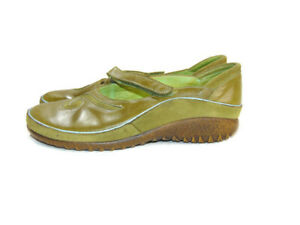 NAOT Flats Green Blue Trim Leather Suede Matai Mary Jane Women Size 7