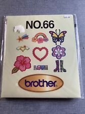 Brother No.66 Embroidery Card Groovy Designs Heart Butterfly Flower Star Etc