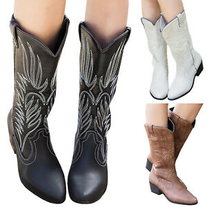 Womens Cowgirl Cowboy Boots Mid Wide Calf Block Heel Western Shoes Vintage Boots