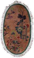 Handmade antique oval Art Deco Chinese rug 3' x 4.10' (91cm x 150cm) 1920s 1B548