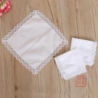 Womens White Handkerchiefs 100% Cotton Hanky Lace Edge Pocket Square Hot 25*25CM