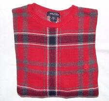 NAUTICA Men's Red Gray Cotton Plaid Crewneck Pullover Sweater Size Large
