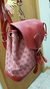 HOT RED Vintage Dooney & Bourke DB Signature Canvas /Leather Flap Backpack Purse