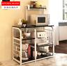 Kitchen Island Dining Cart Baker Cabinet Basket Storage Shelves Organizer Black