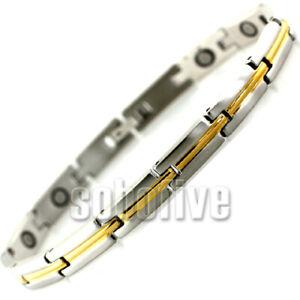 "SSMB5827SBJ Gold Trimmed Magnetic Health Fashion Bracelet L7 1/2"" W 1/4"" Sale!"