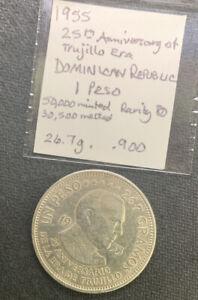 Dominican Republic 1955 1 Peso / 27 Gr .900 Silver Crown & *No Reserve!