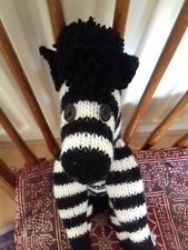 "Zebra Hand Knitted Soft Toy Length14"" Height 9"""