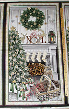 "White Christmas Mantel & Tree Timeless Treasures Fabric Panel 23""  #CM5165"