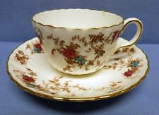 MINTON S-376 ANCESTRAL BONE CHINA CUP&SAUCER FLORAL ENAMELED PATTERN ENGLAND