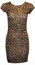 Womens Ladies Cap Short Sleeve Printed Bodycon Stretch Mini Dress Tops 8-22 Leopard UK 20-22