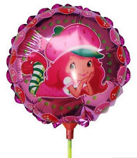 (SET OF 10) STRAWBERRY SHORTCAKE BALLOONS WITH STICKS - BIRTHDAY PARTY SUPPLIES