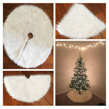 Christmas Tree Skirt Mat Carpet Apron Faux Fur Xmas Holiday Decor Ornament Party