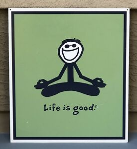"""Life Is Good YOGA Double Sided Hard Plastic Advertising Store Sign 24""""x21"""""""