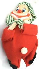 Vintage Felt Christmas Ornament Clown Japan Red Green Sweet A4