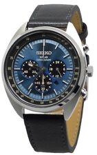 Seiko Solar Chronograph SSC625 Blue Dial Black Leather Band Men's Watch