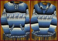 Shakira Kapuzen Pullover Alpaka Fransen Peru Damen Wollpullover Blau Warm Neu S