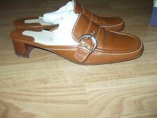 Ann Taylor leather made in Italy shoes mules wood heel & silver buckle 7M