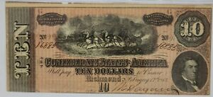 PMG MS 62 Confederate States of America $10 Note 1864