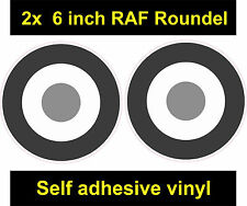 2x 6inch RAF Roundel sticker B/W gray The Who Mod Target Scooter Vespa car decal