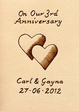 Personalised 3rd Wedding Anniversary Leather Double Heart Design ACEO