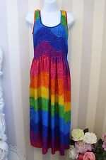 90s Vintage Hippie Bright Rainbow Multicoloured Magic Festival Dress 10 12 14