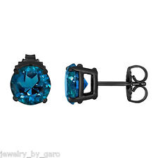 LONDON BLUE TOPAZ STUD EARRINGS VINTAGE STYLE 14K BLACK GOLD  2.00 CARAT