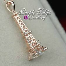 18CT Rose Gold Plated Eiffel Tower Necklace Made With Swarovski Crystal